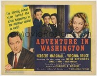 4a004 ADVENTURE IN WASHINGTON TC 1941 Herbert Marshall, Virginia Bruce, scandal in Congress!