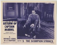 4a200 ADVENTURES OF CAPTAIN MARVEL chapter 5 LC R1953 Tom Tyler in costume helping man on the floor!