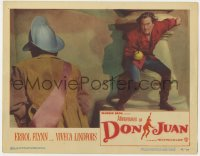 4a201 ADVENTURES OF DON JUAN LC #6 1949 great close up of Errol Flynn duelling with guard!