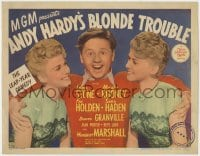 4a001 ANDY HARDY'S BLONDE TROUBLE TC 1944 Mickey Rooney between twins Lee Wilde and Lyn Wilde!