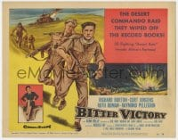 4a017 BITTER VICTORY TC 1958 Nicholas Ray, art of Richard Burton in a desert commando raid in WWII!