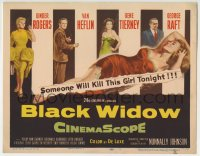 4a018 BLACK WIDOW TC 1954 Ginger Rogers, Gene Tierney, Van Heflin, George Raft, sexy art!