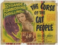 4a025 CURSE OF THE CAT PEOPLE TC 1944 c/u of sexy Simone Simon + great art of snarling cat!