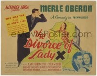 4a028 DIVORCE OF LADY X TC 1938 artwork of Laurence Olivier looking angrily at Merle Oberon in bed!