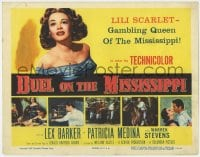 4a032 DUEL ON THE MISSISSIPPI TC 1955 sexy Patricia Medina, America's notorious gambling queen!