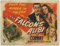4a035 FALCON'S ALIBI TC 1946 art of detective Tom Conway in tuxedo with pretty Rita Corday!