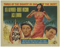 4a036 FIRE DOWN BELOW TC 1957 full-length sexy Rita Hayworth, Robert Mitchum & Jack Lemmon!