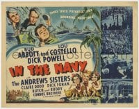 4a051 IN THE NAVY TC 1941 cool art of Bud Abbott & Lou Costello as sailors & the Andrews Sisters!