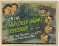 4a053 INVISIBLE MAN'S REVENGE TC 1944 Jon Hall, Carradine, H.G. Wells, cool special effects art!