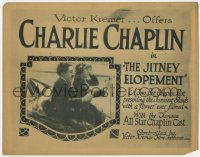 4a055 JITNEY ELOPEMENT TC R1919 great image of Charlie Chaplin in the funniest stunts w/ a flivver!