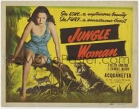 4a056 JUNGLE WOMAN TC R1948 great image of rapturous beauty Acquanetta & a murderous beast!