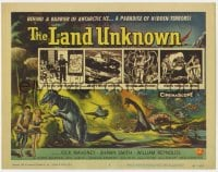 4a061 LAND UNKNOWN TC 1957 a paradise of hidden terrors, cool art of dinosaurs by Ken Sawyer!