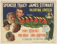 4a069 MALAYA TC 1949 James Stewart, Spencer Tracy, Valentina Cortesa, Sydney Greenstreet
