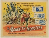 4a076 MONOLITH MONSTERS TC 1957 Reynold Brown art of the living mammoth skyscrapers of stone!