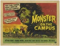 4a078 MONSTER ON THE CAMPUS TC 1958 Reynold Brown art of test tube terror amok on the college!