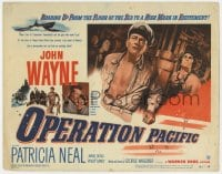 4a106 OPERATION PACIFIC TC 1951 close up of Navy officer John Wayne & Patricia Neal in WWII!