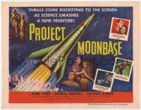 4a131 PROJECT MOONBASE TC 1953 Robert Heinlein, cool art of rocket ship + wacky astronauts!