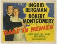 4a133 RAGE IN HEAVEN TC R1946 great romantic image of Ingrid Bergman & Robert Montgomery!