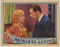4a756 RECKLESS LIVING LC 1931 close up of Mae Clarke & Ricardo Cortez staring at each other!