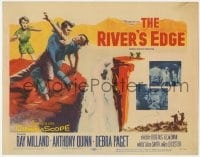 4a137 RIVER'S EDGE TC 1957 art of Ray Milland & Anthony Quinn fighting on cliff, Debra Paget