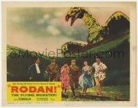 4a780 RODAN LC #5 1957 cool image of six Japanese people running away from The Flying Monster!