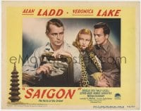 4a791 SAIGON LC #4 1948 sexy Veronica Lake eyes Alan Ladd with a satchel full of cash!