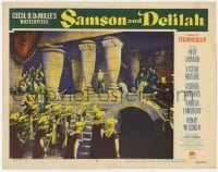 4a793 SAMSON & DELILAH LC #8 1949 strongest man Victor Mature trying to push over stone columns!