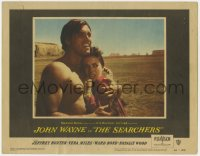 4a799 SEARCHERS LC #1 1956 John Ford classic, c/u of barechested Jeff Hunter & scared Natalie Wood!