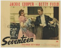 4a807 SEVENTEEN LC 1940 Jackie Cooper in tuxedo by pretty Betty Field holding dog!