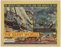 4a150 SILENT WORLD TC 1956 Jacques Cousteau, Louis Malle, cool art of scuba divers on reef!