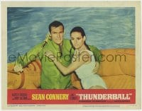 4a905 THUNDERBALL LC #4 1965 Sean Connery as James Bond & sexy Claudine Auger in life raft!