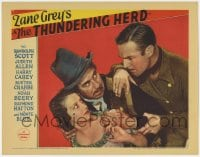 4a907 THUNDERING HERD LC 1933 Randolph Scott with mustache rescues Judith Allen from bad guy!