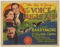 4a178 VOICE OF BUGLE ANN TC 1936 Lionel Barrymore, Maureen O'Sullivan, great hunting dog art!