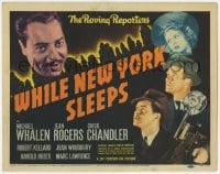 4a182 WHILE NEW YORK SLEEPS TC 1938 Michael Whalen, Jean Rogers, The Roving Reporters, ultra rare!