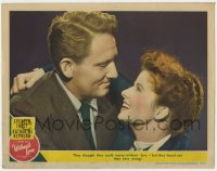 4a977 WITHOUT LOVE LC #2 1945 great romantic close up of Spencer Tracy & Katharine Hepburn!