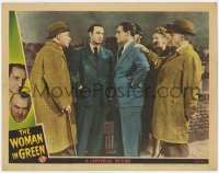 4a982 WOMAN IN GREEN LC 1945 Basil Rathbone as Holmes & Nigel Bruce w/ Hillary Brooke & Henry Daniell
