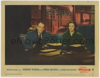 4a988 WRONG MAN LC #8 1957 Henry Fonda & Vera Miles in office, Alfred Hitchcock directed!