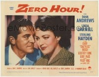 4a998 ZERO HOUR LC #3 1957 best close up of Dana Andrews & pretty pensive Linda Darnell!