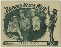 4a999 ZORRO'S BLACK WHIP chapter 6 LC 1944 female hero Linda Stirling with rifle, Fatal Gold!