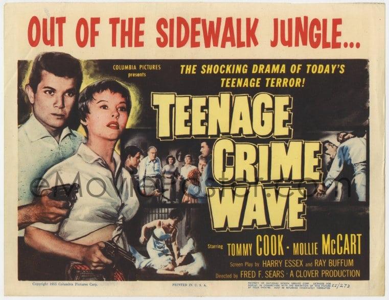 1 of 2 : 4a165 TEEN-AGE CRIME WAVE TC 1955 bad girls & guns, shocking drama  of today's teenage terror!