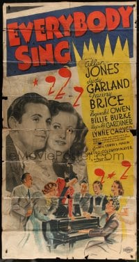 4b017 EVERYBODY SING 3sh 1938 pre-Wizard of Oz Judy Garland, Allan Jones, Fanny Brice, ultra rare!