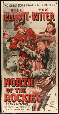 4b018 NORTH OF THE ROCKIES 3sh 1942 art of Royal Canadian Mountie Bill Elliott & cowboy Tex Ritter!