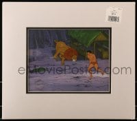 4b006 TARZAN LORD OF THE JUNGLE animation cel 1970s he's running toward danger with his lion!