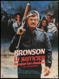 4b816 DEATH WISH 4 French 1p 1987 close up of Charles Bronson with assault rifle, The Crackdown!
