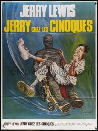 4b820 DISORDERLY ORDERLY French 1p R1970s different Goldman art of nurse Jerry Lewis & mummy!