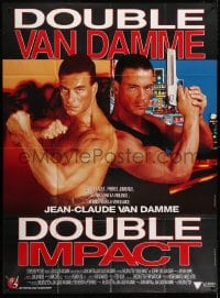 4b823 DOUBLE IMPACT French 1p 1991 great image of Jean-Claude Van Damme in a dual role as twins!