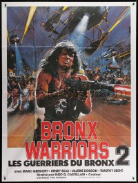 4b831 ESCAPE FROM THE BRONX French 1p 1984 Fuga Dal Bronx, wild action art by Brian Bysouth!