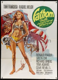 4b837 FATHOM French 1p 1967 different art of sexy nearly-naked Raquel Welch in skydiving harness!