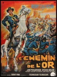 4b838 FINGER ON THE TRIGGER French 1p 1965 Belinsky art of Rory Calhoun on horse over battle!