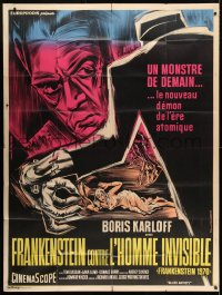 4b844 FRANKENSTEIN 1970 French 1p R1960s great art of Boris Karloff & monster hand attacking girl!